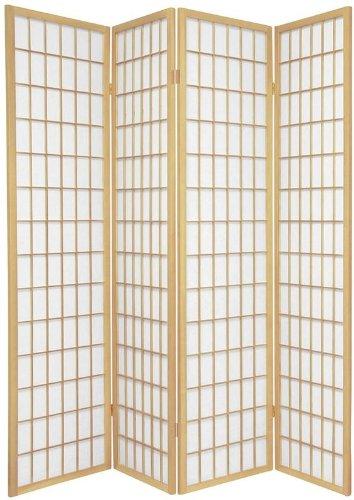 BlueBoxInnovations TOKYO Natural Handmade Wood and Paper 4 Pane Room Divider/Splitter Screen