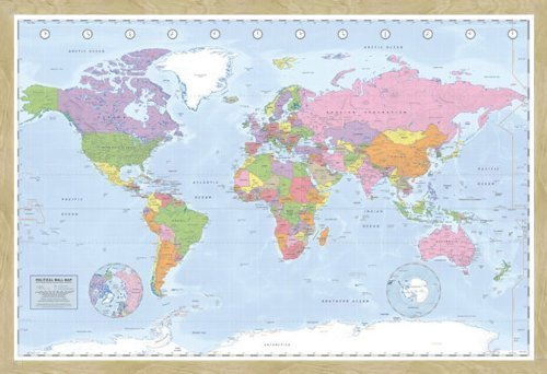amazon com iposters political miller world map pin board framed in