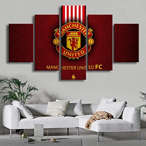ZZXINK 5 Pieces Modern Red Manchester United Sports Wall Football Flag Canvas Paintings Art Prints Pictures Posters