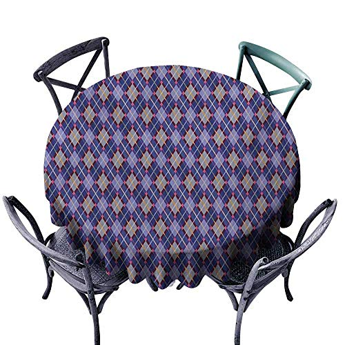 VIVIDX Stain Round Tablecloth,Plaid,Rhombic Traditional Tartan with Scottish Cultural Origins Retro Folkloric Revival,Party Decorations Table Cover Cloth,70 INCH,Multicolor