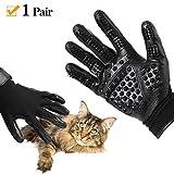 Pet Grooming Glove, Cat, Horse & Dog Deshedding Gloves Soft Rounded Nubs & Adjustable Wrist Strap, Left & Right, Five Finger Comb Glove Pet Massage Mitt, Bathing Shedding Massage Tool
