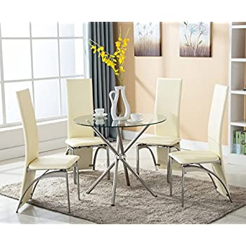 this item eight24hours 5 piece dining table set w4 chairs glass metal kitchen room breakfast furniture - Dining Room Items
