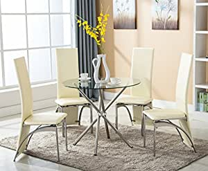 Eight24hours 5 Piece Dining Table Set w/4 Chairs Glass Metal Kitchen Room Breakfast Furniture