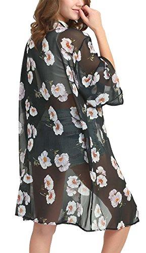 DREAGAL Women Floral Chiffon Cover Up 3/4 Sleeve Beach Bikini Kimono Cardigan 3X