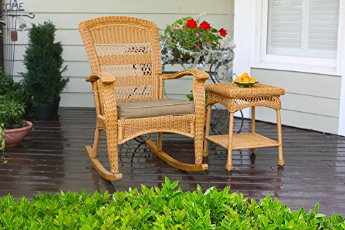 Tortuga Outdoor Portside Plantation Rocking Chair and Side Table - Amber