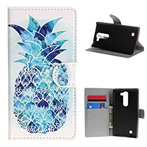 Para LG Magna H502F C90 , ivencase Hermoso Pineapple Billetera Magnética Closure Patrón PU Cuero Textura Flip With Built-in Media Stand and Ranuras Tarjetas Crédito Protector Funda Carcasa Tapa Case Cover Para LG Magna H502F , H500F , C90 , H520N