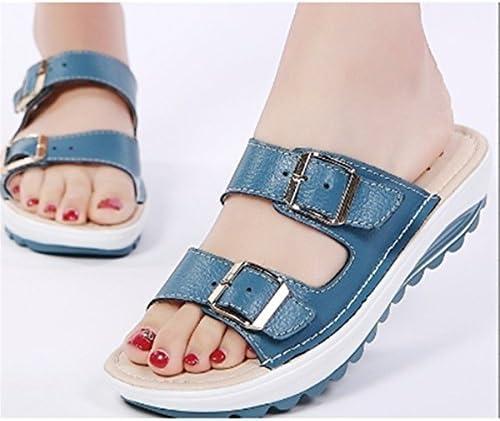 LZROL 夏 レディース サンダル スリッパ ファッション ボヘミアン シンプル 厚底 ビーチスリッパ  歩きやい 履き心地 美足 ファション 靴 ブルー