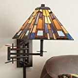 Jewel Tone Tiffany Style Plug-in Swing Arm Wall Lamp - Robert Louis Tiffany
