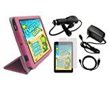iShoppingdeals - Hot Pink Folio Cover Case Charger Cable Screen Protector Bundle for Dell Venue 8 (3830) Android Tablet