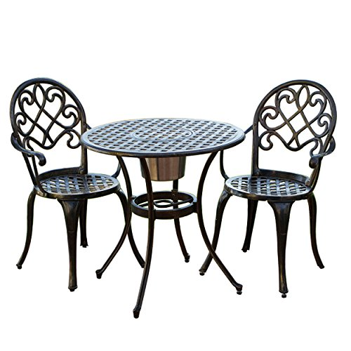 Great Quality Chestnut Street 3 Piece Outdoor Bistro Set with Ice Bucket