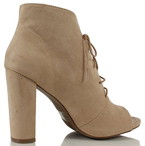 Wild Diva Womens Morris 13 Faux Suede Peep Toe Lace Up Chunky Heel Ankle Bootie Ankle Bootie