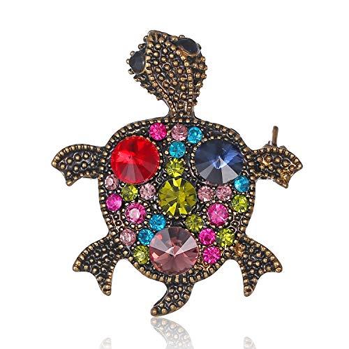 AILUOR Vintage Turtle Brooch Pins, Fashion Women's Rhinestone