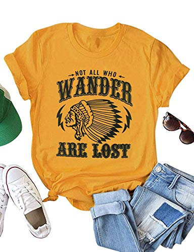 Not All Who Wander are Lost Women Travel T Shirt Fashion Fun Graphic Short Sleeve Tee O-Neck Solid Tops (XX-Large, ()