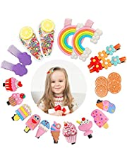 22 Pcs Baby Girls Hair Clips, Fully Lined Rainbow Hair Accessories Cute Cartoon Dessert Alligator Barrettes for Girls Teens Kids Children Toddlers