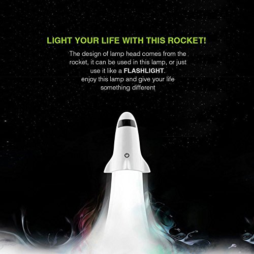 Automatic LED Night Light –NewMum 2 in 1 Ceative Portable Spaceship Rocket USB Rechargeable Adjustable Desk Lamp with Flashlight Function.
