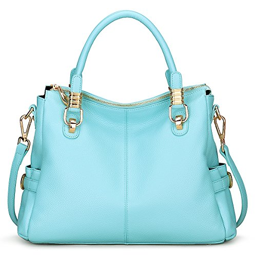 [BIG SALE-AINIMOER Womens Genuine Leather Vintage Tote Shoulder Bag Top-handle Crossbody Handbags Large Capacity Ladies' Purse (Light] (Sale On Purses)