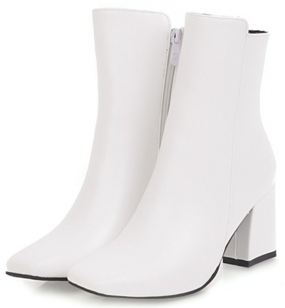 Mofri Women's Chic Burnished Square Toe Side Zipper Ankle Booties Chunky High Heel OL Work Shoes Short Boots (White, 9.5 B(M) US) by Mofri (Image #2)