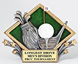 Etch Workz Customize Golf Trophy - RDP11 Series Diamond Plate Golf Resin Award - Includes 3 Lines of Engraving - Gold Plated & Personalized Free