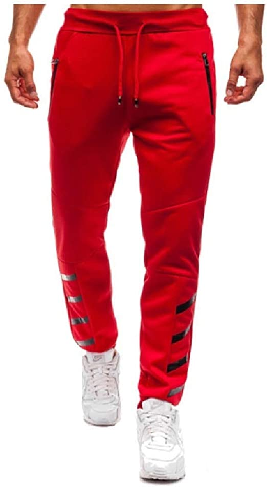 VITryst Mens With Pocket Loose Stitching Zip Up Solid Smocked Waist Running Pants