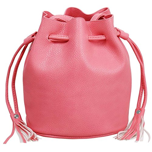 BMC Womens Tickle Me Pink Textured Faux Leather Drawstring Style Cinch Sack Mini Fashion Handbag Image