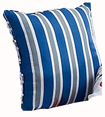 Blue and Gray Striped Boys Sports Patch Pillow 16 X 16