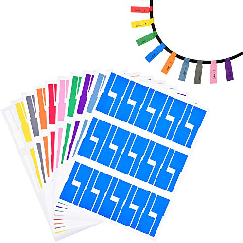 TecUnite 20 Sheets Self-Adhesive Cable Labels Waterproof Tear Resistant Cord Label Stickers, 600 Pieces Totally, 10 Colors
