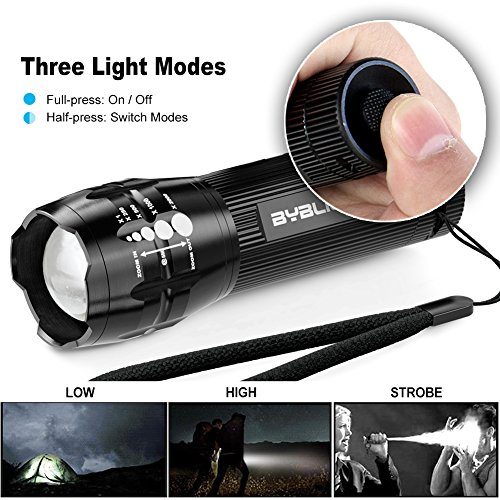Pack of 4 Flashlights, BYBLIGHT 150 Lumen Ultra Bright LED Flashlight, Zoomable Tactical Flashlight with 3 Modes for Indoors and Outdoors (Camping, Cycling, Emergency and and Gift-Giving)
