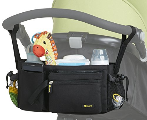 Stroller Organizer Bag - Universal Fit, Cup Holders, Adjustable Compartments, (Zooper Single)