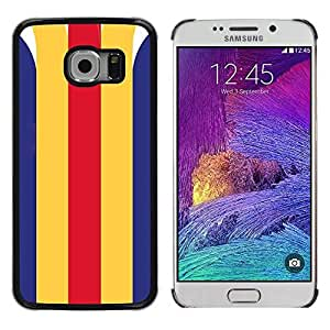 Colorful Printed Hard Protective Back Case Cover Shell Skin for Samsung Galaxy S6 EDGE / SM-G925 / SM-G925A / SM-G925T / SM-G925F / SM-G925I ( Lines Clean Retro Vintage Pattern )