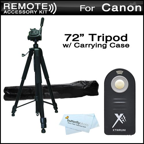 Replacement RC-6 Wireless Shutter Release Remote Control For Canon Digital Rebel T5i, T4i, T3i, 5D, 7D, EOS 70D Canon EOS 7D Mark II DSLR (Canon RC-5 RC-6 Replacement) + 72 Tripod w/Case For The Tripod from ButterflyPhoto