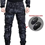 Men Shooting BDU Combat Pants Trousers with Knee Pads for Tactical Military Army Airsoft Paintball (M)