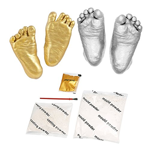 Essort 3D Plaster Casting Kit, Memorable Keepsakes, Baby Casting Kit, Baby Handprint Footprint Keepsake, Casting Plaster, Metallic Pewter Paint