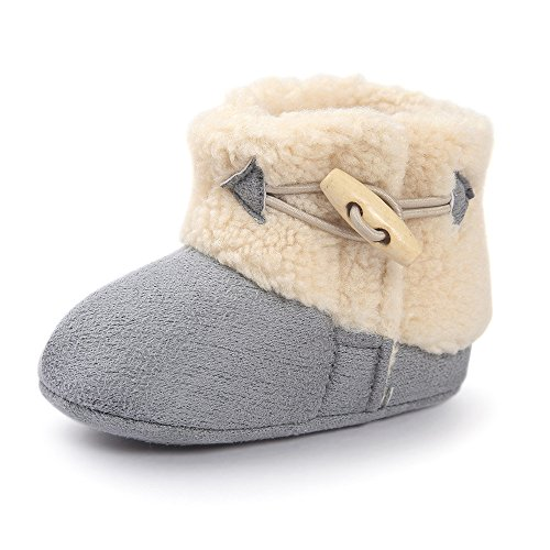 Estamico Baby Boys Girls Hook and Loop Winter Warm Boots Crib Shoes Gray 0-6 Months