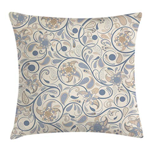 (Ambesonne Vintage Throw Pillow Cushion Cover, Oriental Scroll with Swirling Leaves with Eastern Design Inspirations, Decorative Square Accent Pillow Case, 18