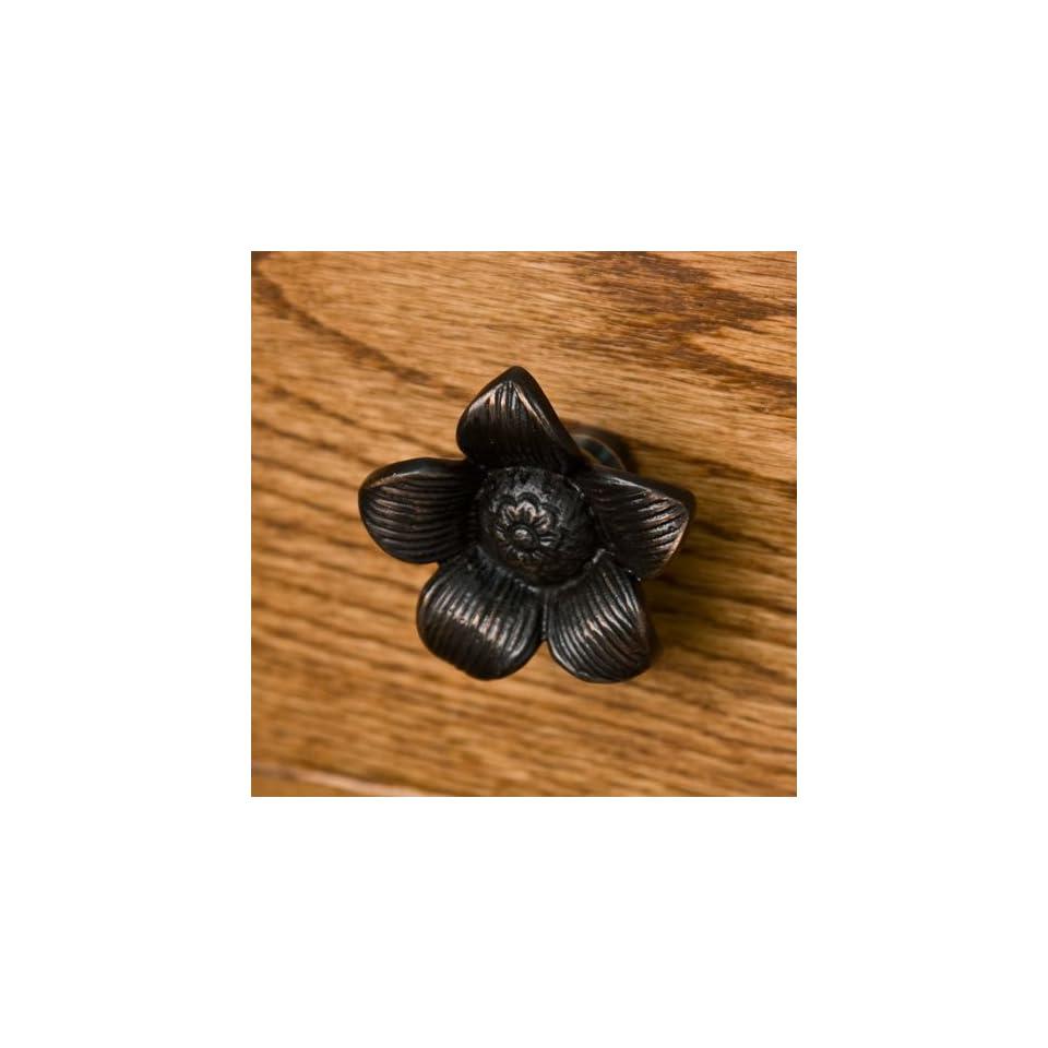 Solid Brass Starflower Cabinet Knob   Oil Rubbed Bronze