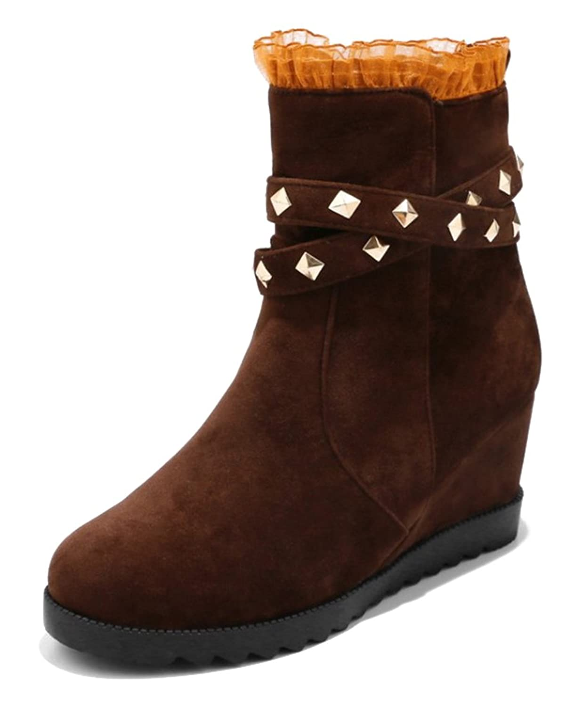SHOWHOW Damen Nieten Spitze Kurzschaft Stiefel mit Keilabsatz Schwarz 34 EU Rp7vHSq