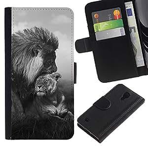 KingStore / Leather Etui en cuir / Samsung Galaxy S4 IV I9500 / Couple Noir Blanc Afrique animale