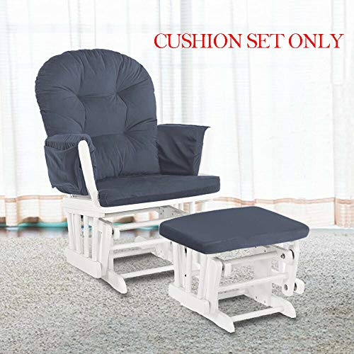Glider Rocking Chair Replacement Cushions Velvet Washable for Chairs & Ottoman Dark Grey