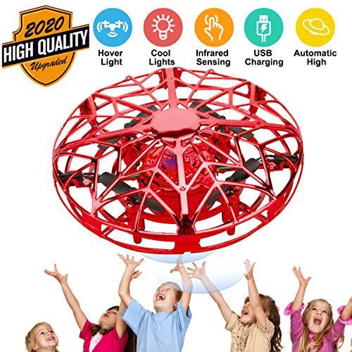 Hand Operated Drones for Kids, Mini Drone UFO Kids Drone with LED Lights, Levitation Drones Flying Ball Drone Toy 360°Rotating Helicopter with Infrared Sensor for Boys Girls Adult Indoor Outdoor