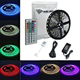 ALED LIGHT Led Strip 16.4FT/5M with Tube 300 SMD 5050 Black PCB Waterproof RGB +44 Key Remote Controller+12V 6A Power Adapter,Decorative for Holiday,Event,Show Exhibition