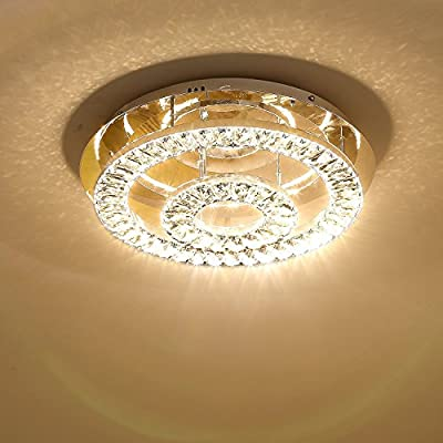 Saint Mossi Modern K9 Crystal Raindrop Dimmable LED 2 Ring Chandelier Lighting Flush mount LED Ceiling Light Fixture Pendant Lamp for Dining Room Bathroom Bedroom Livingroom Height 5 x Width 17