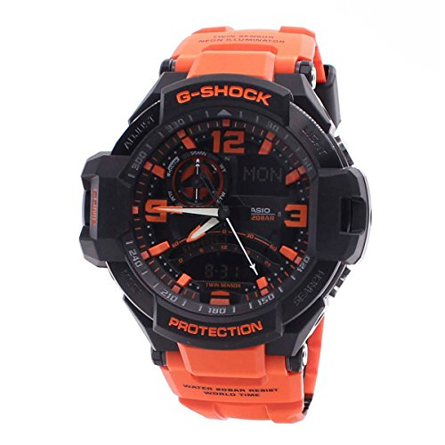 G-Shock Unisex G-Aviation Twin Sensor GA1000-4A Black/Orange by Casio