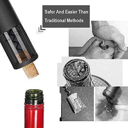 Piegricdiat - Abrebotellas eléctrico, sacacorchos automático para casa, restaurante, fiesta, regalo para la familia (negro mate)
