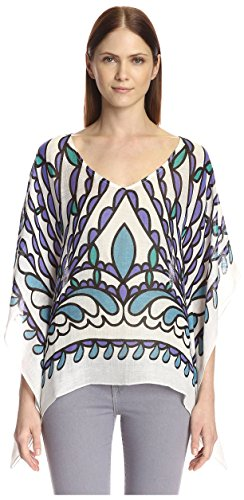 Theodora & Callum Women's Papillon Scarf Top, White Multi, One Size]()