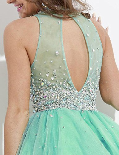 Beaded Blue Navy High 2018 Gown Short Homecoming Manual Line Sexy Neck Dress A Prom Little VK100 wt6HRZq