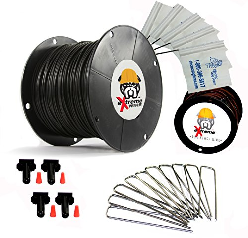 1000' eXtreme ProGrade Complete Boundary Kit 14 Gauge for Underground Hidden Dog Fence - Kit Includes: 1000ft of eXtreme Brand 14-Gauge Perimeter Wire, 100ft of Pro-Grade Twisted Wire, 100 ElectricDogFence Flags, 6 Pro-Grade Wire Splices and 100 Ground Wire - Deluxe Dog Fence Ground
