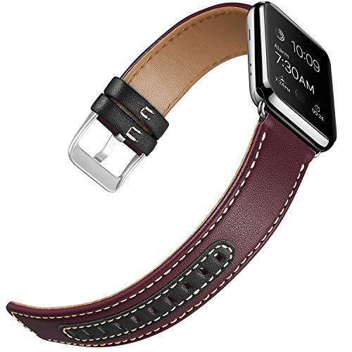 iHillon Compatible Apple Watch Bands 38mm, Soft Genuine Leather Bands Two-Tone Straps Compatible Apple Watch Series 3, Series 1/2, Edition and Sport, Women Men, Wine Red