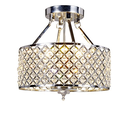 (Top Lighting 4-light Chrome Finish Round Metal Shade Crystal Chandelier Semi-Flush Mount Ceiling)
