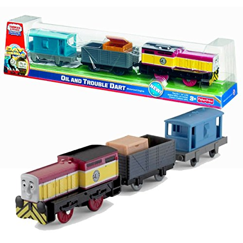 Fisher Price Year 2011 Thomas & Friends Day of the Diesels Series Trackmaster Motorized Tank Engine 3 Pack Train Set - OIL and TROUBLE DART with Wagon Car Loaded with