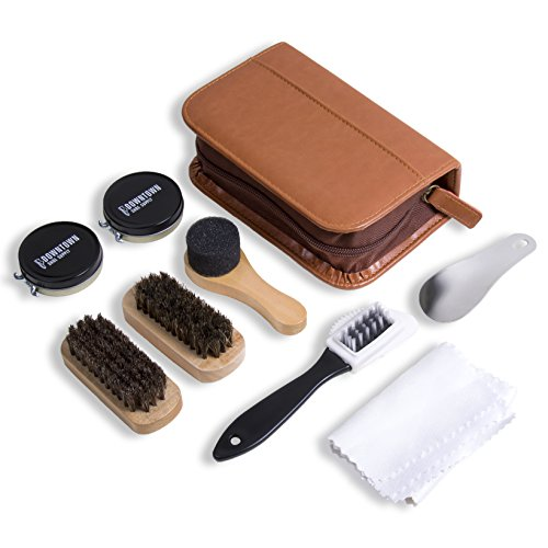 Shine Patent Leather Shoes - Shoe Shine Kit - Downtown Supply - Professional Shoe Care for all Leather, Suede, Boots with Shoe Polish, Buffing Cloth, Brown Travel Case